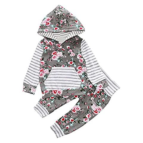 Fulltime(TM) 2PCS Kids Baby Boy Girl Floral Hooded Coat Tops + Long Pants Casual Outfits Clothes Sets (24 months)