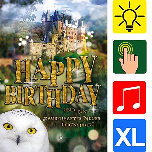 """bentino Geburtstagskarte XL mit Musik, Licht und BERÜHR-Funktion, per Knopfdruck den Zauberstab zum Leuchten bringen, DIN A4 Set mit Umschlag, Glückwunschkarte\""""Great Cards\"""" von bentino"""