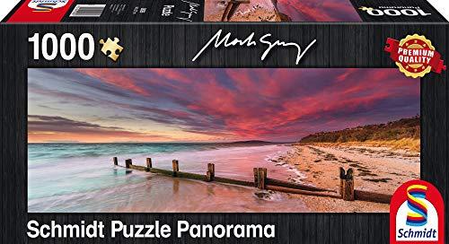 Schmidt Spiele Puzzle 59395 - Mark Gray McCrae Beach, Mornington Peninsula, Victoria, Australia, Panoramapuzzle, 1000 Teile -