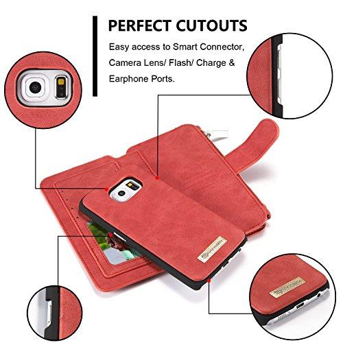 SDDMALL CaseMe abnehmbare Premium Leder Tasche, 13 Card Slots, 1 Foto Frame Zipper Magnetische Abdeckung für Samsung Galaxy S6Edge Wallet Case, ( Color : Brown ) Red