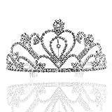 Pixnor Couronne de strass de cristal diadème strass cristal Bridal bandeau avec peigne de mariage
