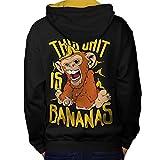 banane Singe Sauvage Animal Homme L Sweat à capuche contrasté le dos | Wellcoda