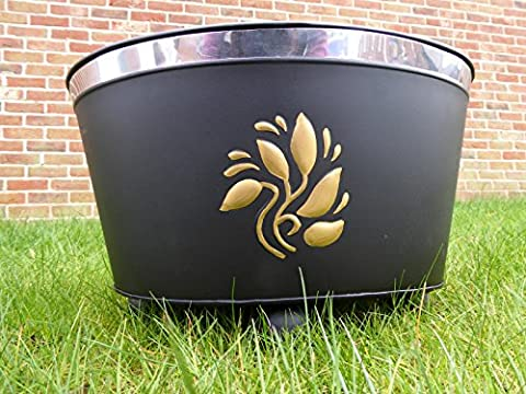 Garden Fire Pit Fire Bowl Brazier Incinerator Black With Gold Leaves 41x30x26cm
