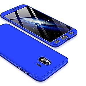 Shinyzone 3 in 1 Stoßfest Hülle für Samsung Galaxy J4 2018,360 Grad Ganzkörper Schutzhülle,Ultra Dünn Leicht Hybrid Hart PC Schale Kratzfest Handyhülle für Samsung Galaxy J4 2018,Blau