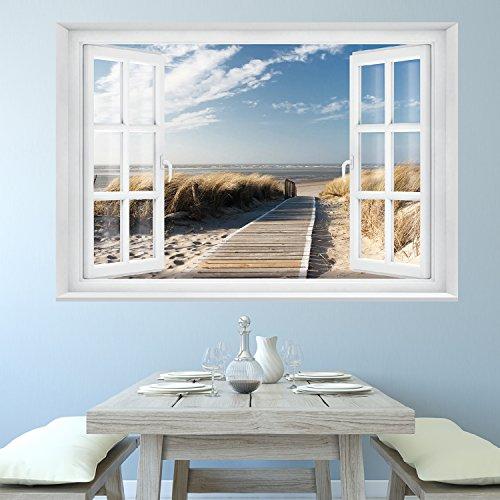 FOTOTAPETE ,,Beach Window 2T1′ 127cm x 183cm Fenster Ausblick Meer Strand Dünen Ozean ocean way Tapete inklusiv Kleister - 2