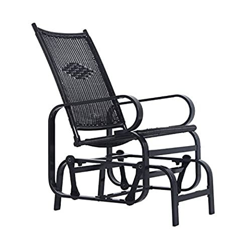 Outsunny Rattan Glider Rocking Chair Single Seater Rocker Seat Garden