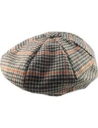 'Newsboy' Style Flat Cap - Prince of Wales Style Fabric -Size Large