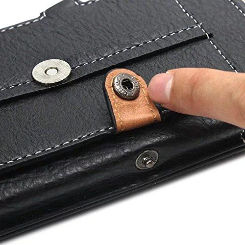Universal Vertikaler Handytasche Gürtel Holster Tasche Bergsteigen Handytasche mit Schlaufe Karabiner und Kartensteckplatz Schwarz für 4,7-6,3 Zoll ( Color : Black 5.5 inch ) Black 5.1 inch