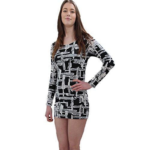 Vincenza Damen Etui Kleid weiß weiß 38 Schwarz / Weiß