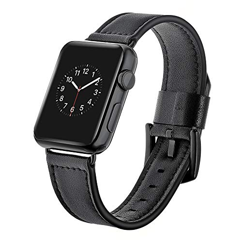 WAOTIER für Apple Watch 38mm Armband 40mm Armband Leder Armband Retro Armband für Apple Watch Series 4/3/2/1 mit Edelstahl Verschluss Armband für iWatch 38mm 40mm für Männer Frauen (Schwarz) -