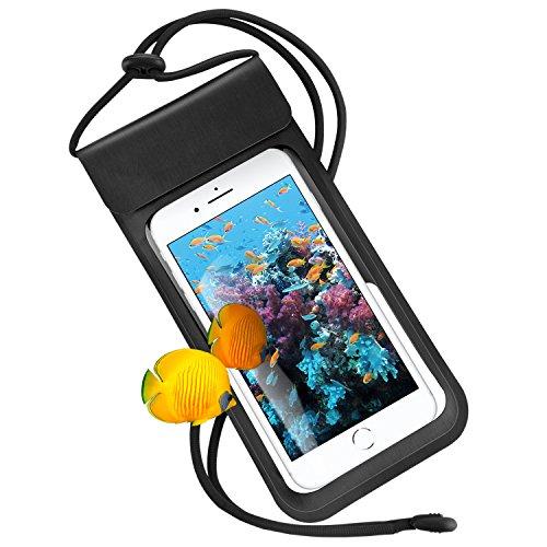 RANVOO Wasserdichte Hülle Handyhülle Tasche Beutel, Wasserfeste Staubdichte Hülle für iPhone X 8 6 7 Plus Samsung S6 S7 S8 S9 Plus Note Huawei P10 P9, bis zu 6,2 Zoll, für Kleingeld, Pass, Schwarz