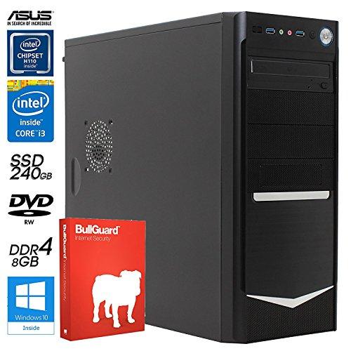 SNOGARD Office Line Business PC | 7th Generation Intel Core i3-7300 Prozessor, Intel HD 630 Grafik, 8GB DDR4 RAM, 240GB SSD Festplatte + DVD±RW • Home Office & Multimedia Desktop Computer (OfficeLine i3-7300-SSD W10Pro Kaby Lake)