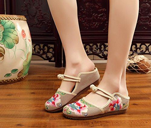 Pantofole Da Insun Da Donna A Scarpe Beige Mano Scarpe Ginnastica Piatte Ricami Fatti Fiore 7vZRnZwq