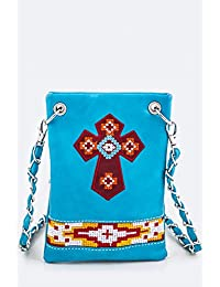 Ropes And Spurs Stitched Cross Cross-Body Mini Bag (W1021) (Teal)