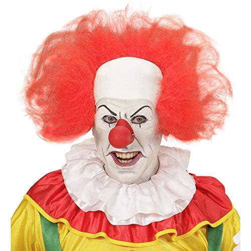 NET TOYS Auffällige Clown-Perücke ES | Weiß-Rot