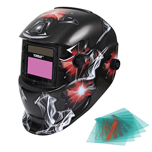 Yorbay Solar Automatisch verdunkelnd Schweißhelm Schweißmaske mit 5 Stück Ersatzgläser, Schleif-Funktion (Rauch / Rotes Licht)