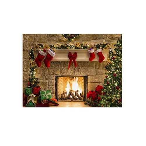 Mitlfuny Weihnachten Home TüR Dekoration 2019,Kamin-Hintergrund-Fotografie-Studio der Weihnachtshintergrund-Vinyl ()