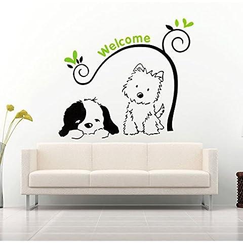 Yongse Bienvenido perro del gato pegatinas de pared extraíble pegatinas Pegatinas de pared Decoración para el Hogar