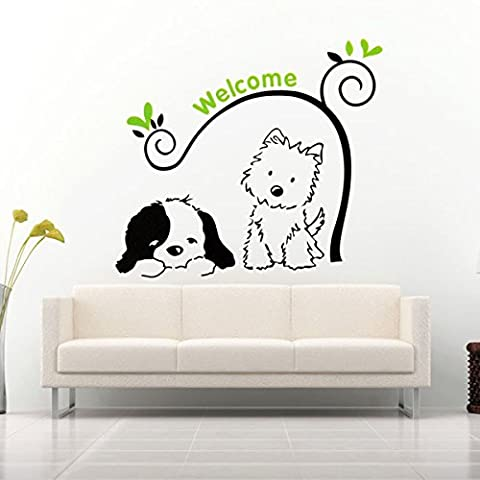 Bluelover Cat Dog Welcome Wall Stickers Removable Wall Decal Stickers Home Decor