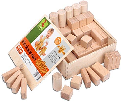 CreaBLOCKS Holzbausteine natur Kleinkindpaket 54 unbehandelte Bauklötze ab 6 Monate Made in Germany (Holz-bausteine-set)