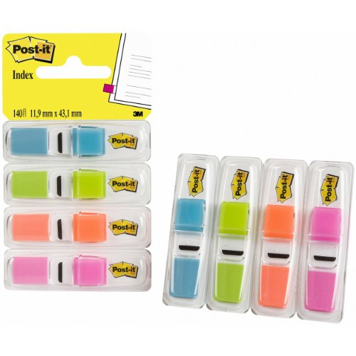 Post-it Index Small in Clear Dispenser, 140 Flags - 4 Colours x 35 per Pack Test