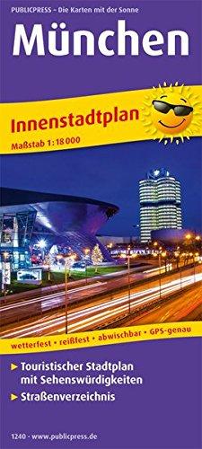 München: Touristischer Innenstadtplan mit Sehenswürdigkeiten und Straßenverzeichnis. 1:18000 (Stadtplan / SP)