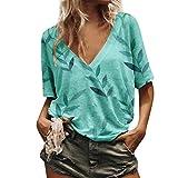 Lazzboy Donna T-Shirt Plus Size con Scollo a V Top Foglie di bambù Stampareed Oversize Largo Manica Corta Bluse(XL(46),Blu)