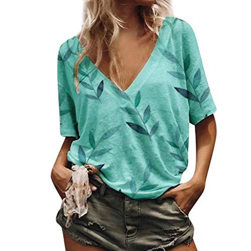 Kostüm Viktorianischen Raven - Kviklo Deman Plus Size T-Shirt Top V-Ausschnitt Bambusblätter Drucked Loose Kurzarm Bluse Oversize(L(40),Blau)