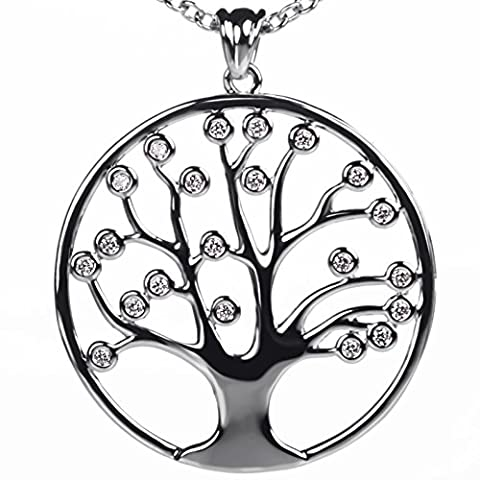 "Meranu women 925 sterling-silver lifetree pendant tree of life zirconia crystal stone flower with jewelry box – long necklace chain 31.5 "" inch (31.5, Silver plated)"