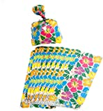 Pack of 12 - Hawaiian Cellophane Hibiscus Party Bags - Summer Beach Parties Luau
