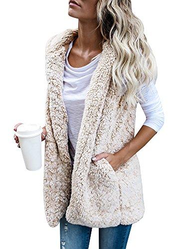 Damen Weste Winter Warm Outwear Casual Leichte Kunstpelz Zip Up Sherpa Jacke