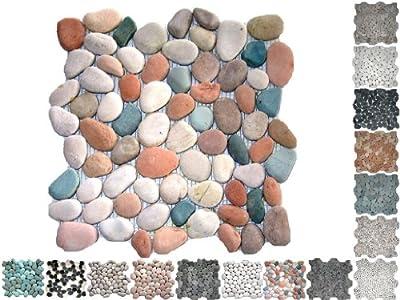 1 QM Flusssteine Rund Buntmix Riverstone von Mosaikdiscount24 - TapetenShop