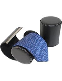HomgatyEstuche de piel para corbatas, diseño cilíndrico, color negro