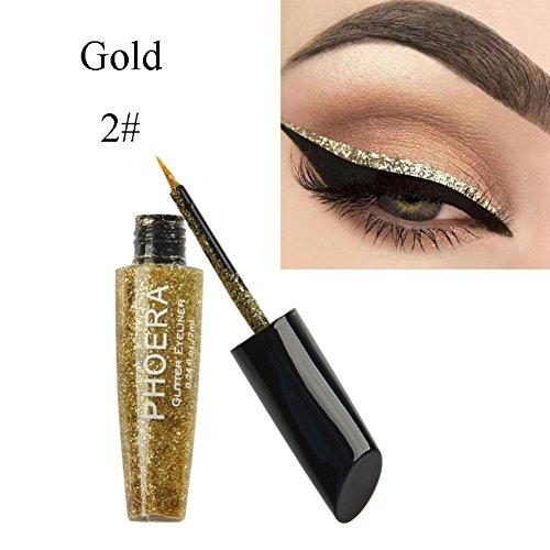 Weicici 10 Farben Metallic Glitter flüssigen Eyeliner erhellen Augenhaut für Halloween-Party (# Gold)