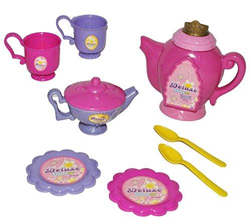 8 tlg. Set - Puppengeschirr - Kaffeekanne + Zuckerdose + Teller + Tassen - rosa Kunststoff / Plastik...