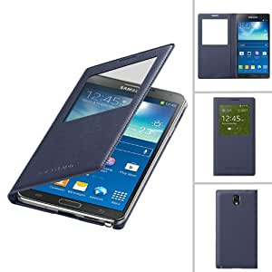 TECHGEAR Samsung Galaxy Note 3 S Window View Case - Premium Ultra Slim Flip Battery Cover PU Leather Case with Auto Sleep Wake Function (BLUE)
