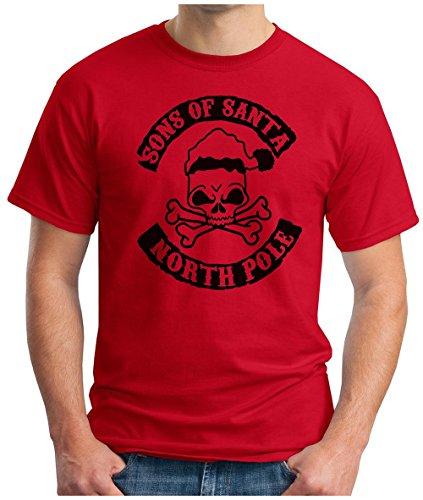 OM3 - SONS-OF-SANTA - T-Shirt MC SANTA CLAUS NORTH POLE CHAPTER BLACK METAL 666 FUCKING XMAS GEEK, S - 5XL Rot