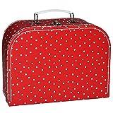Unbekannt Kinderkoffer MITTEL - rot weiß gepunktet Punkte / Polka Dots - Pappkoffer - Puppenkoffer Koffer Kinder Pappe Karton - ideal für Spielzeug und als Geldgeschenk