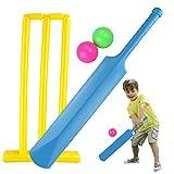 Kids 23' Plastic Mini Cricket Set Junior Wicket Stumps Balls Bat Indoor Outdoor Garden Beach Park Fun Play Size