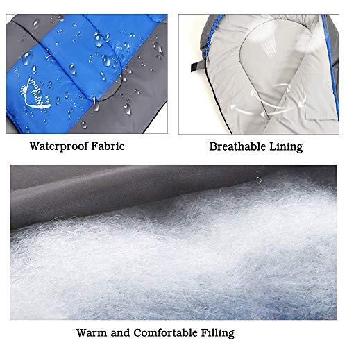 VCOS - Saco de Dormir térmico para 3 Estaciones, con Cremallera de Dos vías, Saco de Dormir Ligero, Compacto con una Bolsa de Almacenamiento, Ideal para Acampar al Aire Libre y en Interiores, Azul