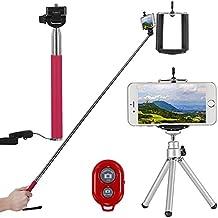 """Neewer® 4-en-1 kit de Autorretrato Self Portrait de cámara para Cámaras Compactas y Smartphones teléfonos inteligentes , como iPhone 6 Plus/6/5s/5c/5/4s/4,Samsung Galaxy S5/S4/S3, Note2, Note3, HTC One M8/M7, Google Nexus 5/4, El kit incluye: (1) 43 """"/ 110cm Palo portátil extensible de Monopod selfie + (1) Soporte universal ajustable de Teléfono + (1) 8 """"/ 21cm mini trípode + (1) Disparador de Control remoto inalámbrico Bluetooth (rosado)"""