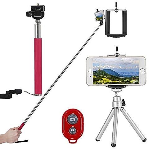 Neewer® Kit 4-en-1 de Perche Selfie pour Smartphone et Appareils Photo Compacts Comme iPhone 6 Plus/6/5s/5c/5/4/4 Samsung Galaxy S5/S4/S3 Note 2 Note3 HTC One M8 / M7 Google Nexus 5/4 Kit Comprend:1*43