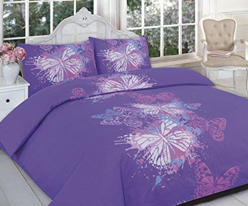 Maria Luxus Bettwäsche & Bettwäsche Hervorragende Hotel Qualität King Bedruckt Schmetterling Lila Design Bettbezug Set Bettwäsche-Set mit Kissenbezügen, King Size