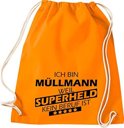 Camiseta stown Turn Bolsa Ich bin basura Muñeco, porque Super Held No Profesión es, naranja