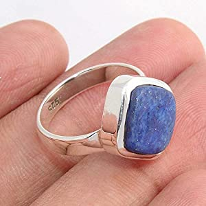 Blue Lapis Lazuli 925 Sterling Silver Ring Jewelry