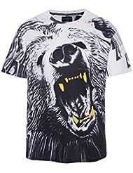 Verano Moda Tendencia Impresión Patrón Casual Chaqueta de Manga Corta Hombres 's Camisa 3d Oso Polar de Gran Tama?o Camiseta Casual,Figura,XXXL