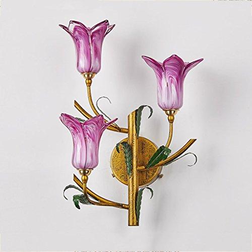 CQ American Flower Gras Wandleuchte Garten Wohnzimmer Schlafzimmer Nachttischlampe Korridor Gang Treppen Spiegel Scheinwerfer (Color : Purple horn)