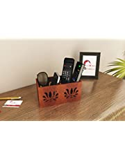 Home Sparkle Multipurpose Wooden Organizer Cum Holder for Remotes| Mobile Phones| Kitchen and Desk Accessories - Brown