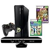 Xbox 360 - Konsole Slim 4 GB inkl. Kinect Sensor, Kinect Sports: Season 2 + Kinect Adventures, schwarz-matt