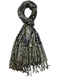 Lorenzo Cana Pashmina Scarf Shawl 60% Silk 40% Wool 75'' x 28'' Jacquard Woven Paisley Pattern
